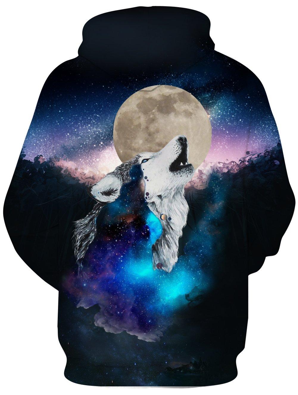 3d Moon Wolf Hoodie For Men Pullover Sweatshirt Animal Graphic Hoodies Hoody With Big Pocket