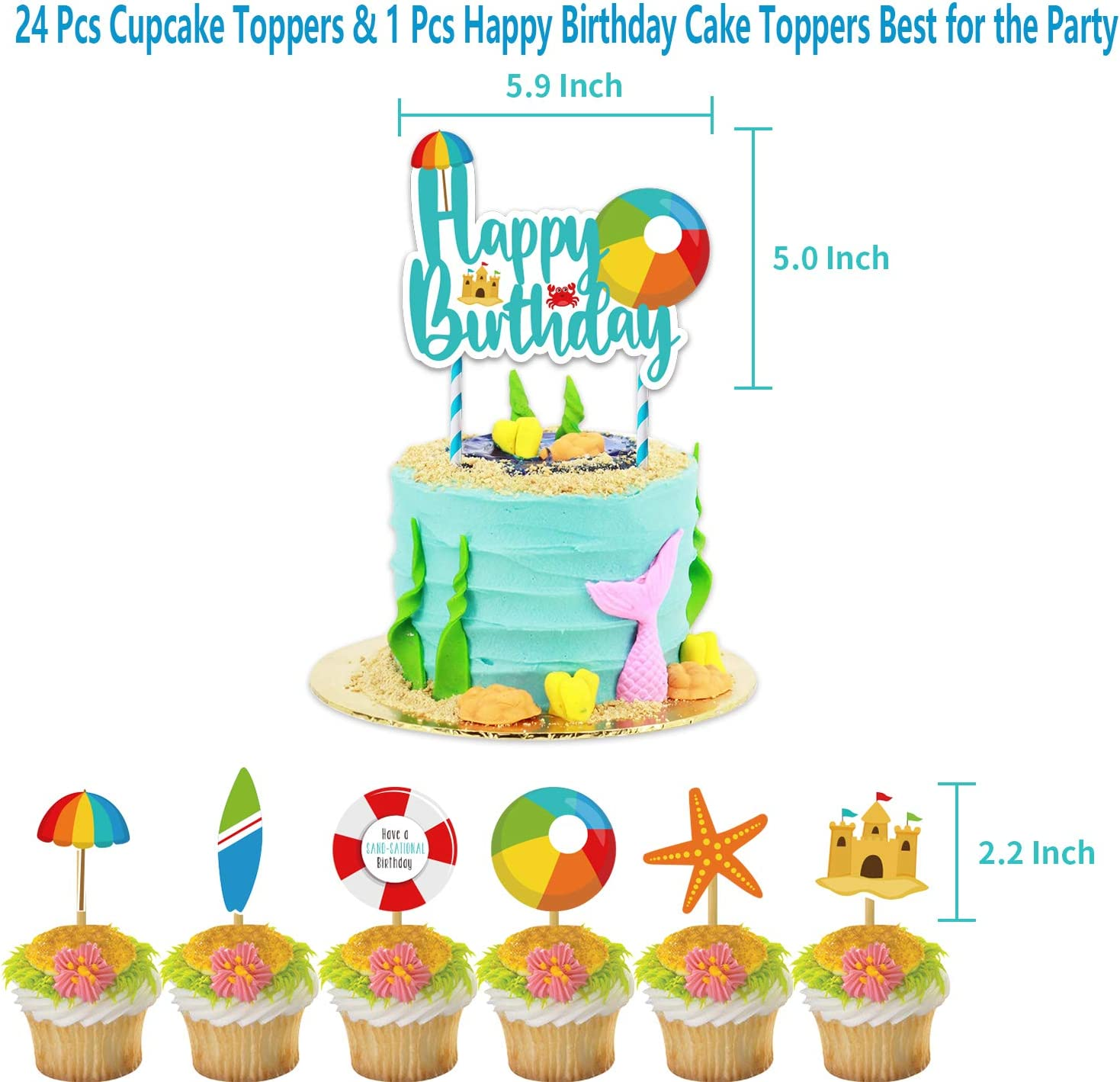 Cake Topper 20pcs Inflatable Beach Balloons for Summer Colorful Beach Pool Themed Kids Birthday Party Decorations 24pcs Cupcake Topper 47 Pcs Beach Ball Birthday Party Decoration Supplies with Pre-strung Banners