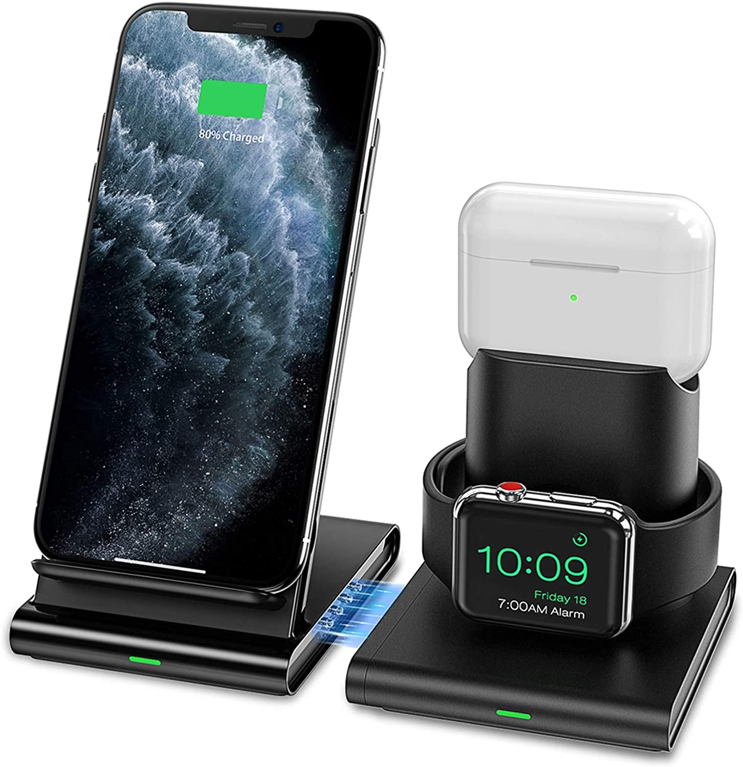 Seneo Wireless Charger, 3 in 1 Wireless Charging Station for Apple Watch, AirPods Pro/2, Detachable and Magnetic Wireless Charging Stand for iPhone 11 Pro Max/X/XS/XR/8Plus(NO QC 3.0 Adapter)