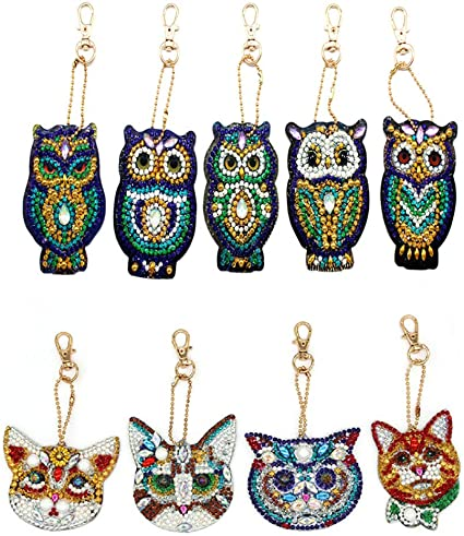 5D DIY Key Chains Diamond Painting Paint by Numbers KitsFull Drill Rhinestone Mosaic Making Decorative Props for Bags,Phone Straps 4 Pack