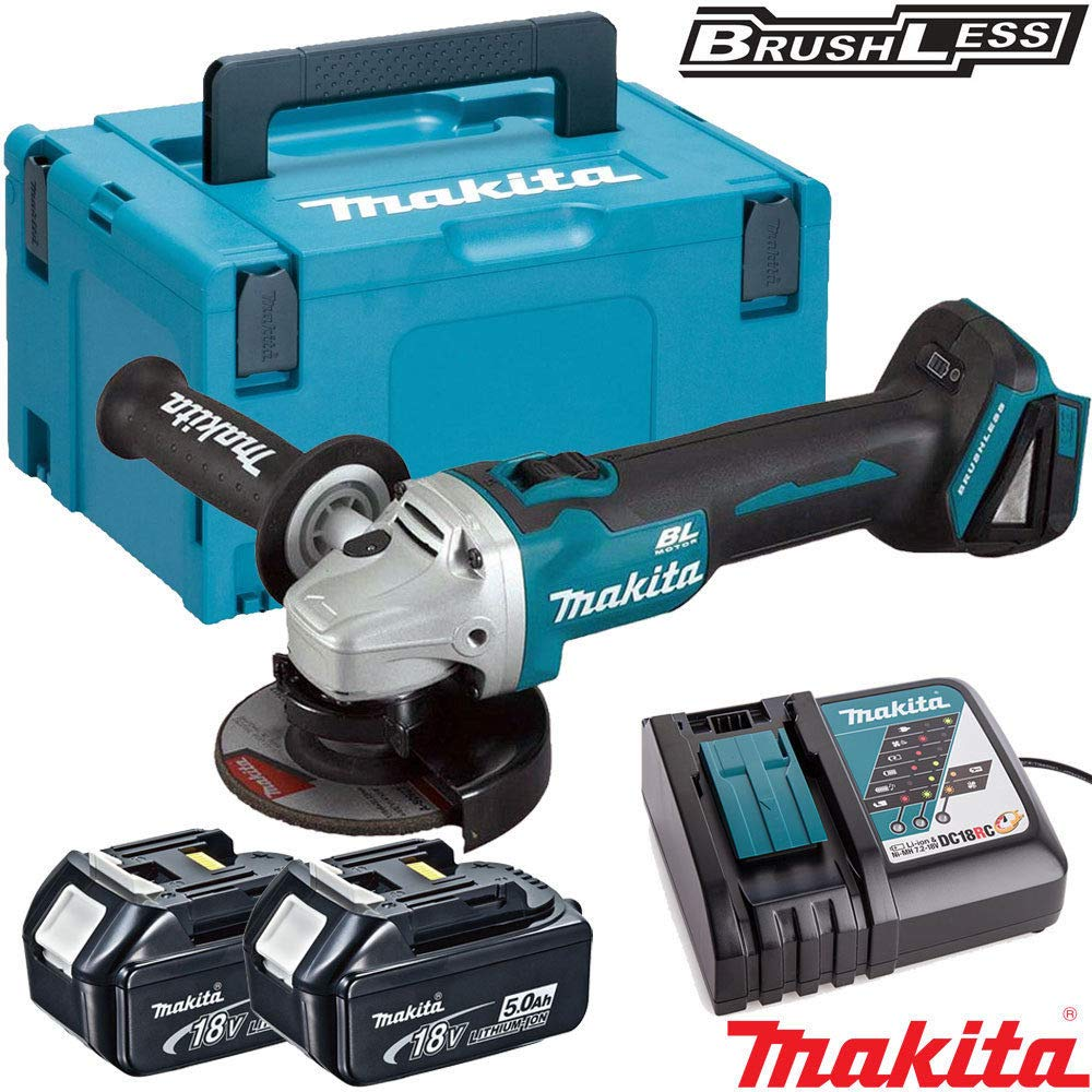 Makita DGA456Z 18v Brushless Angle Grinder with 2 x5Ah Batteries 18 V Charger /& Case