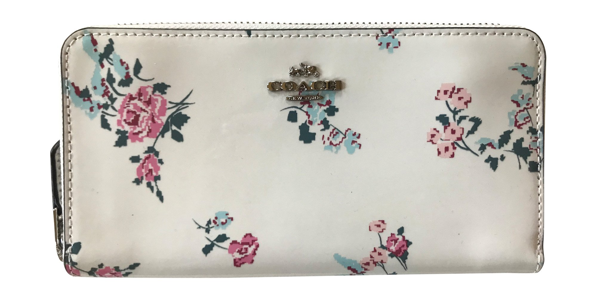Coach Patent Leather With Cross-Stitch Floral Print Accordian Zip Wallet, chalk, Multi-Colored