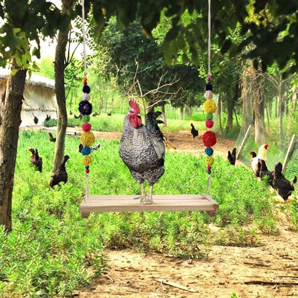 iFlymisi Chicken Swing with Natural Wooden Chicken Toys Hanging Chicken Swing Wooden Colorful Chicken Toys Handmade Wooden Perch with Bells for Hens Bird Parrot Trainning