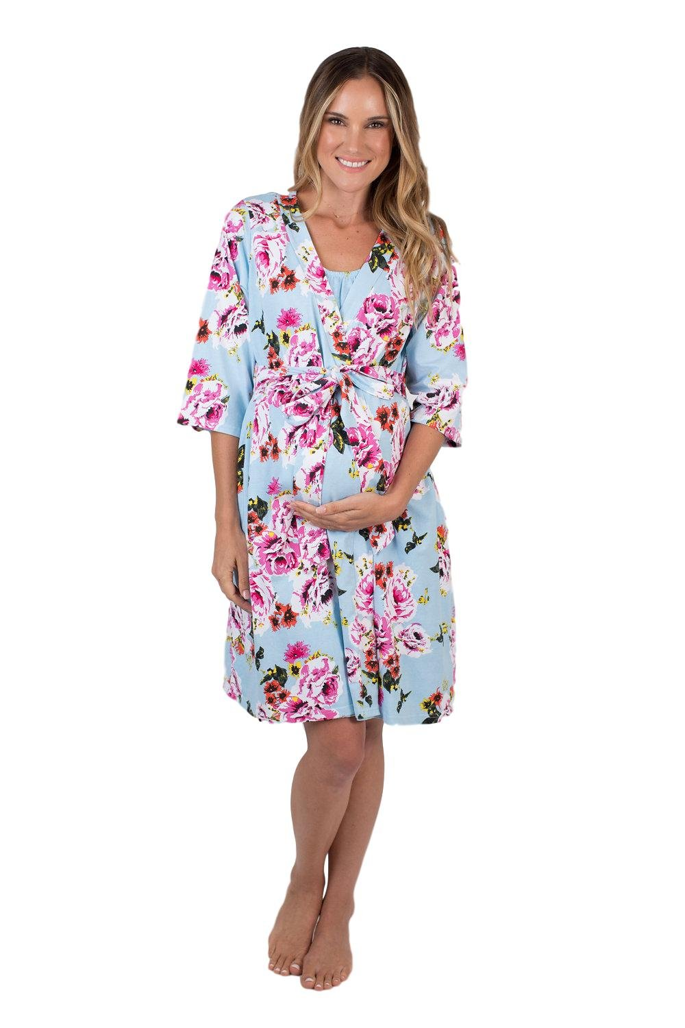 Baby Be Mine Maternity Labor Delivery Nursing Robe Hospital Bag Must Have (L/XL pre Pregnancy 12-18, Isla)