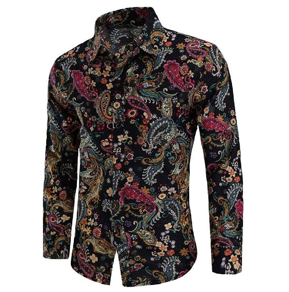 JXG Men Tops Long Sleeve Printed Big /& Tall Slim Button Up Shirts