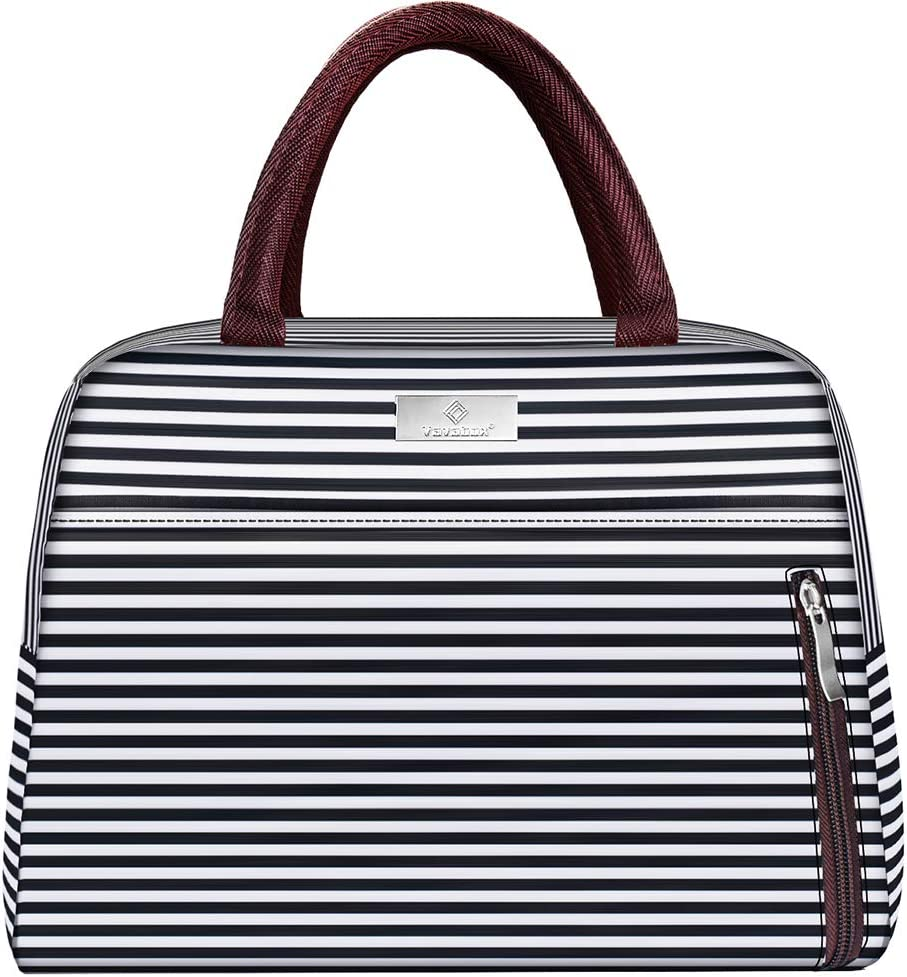 Lunch Bags For Women,Insulated Lunch Box Tote Bag Lunch Organizer Lunch Holder For Men/Beach/Party/Boating/Office/Fishing/Picnic (Black White Strip)