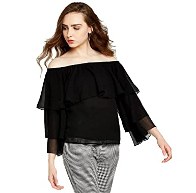 d47ae19033b era style Women's Shimmer Off Shoulder Top (Black, Small): Amazon.in ...