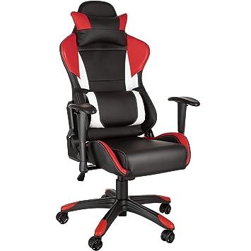 TecTake Silla de Oficina ergonomica Racing Gaming con Soporte Lumbar (Negro-Rojo-Blanco | no. 402289): Amazon.es: Hogar