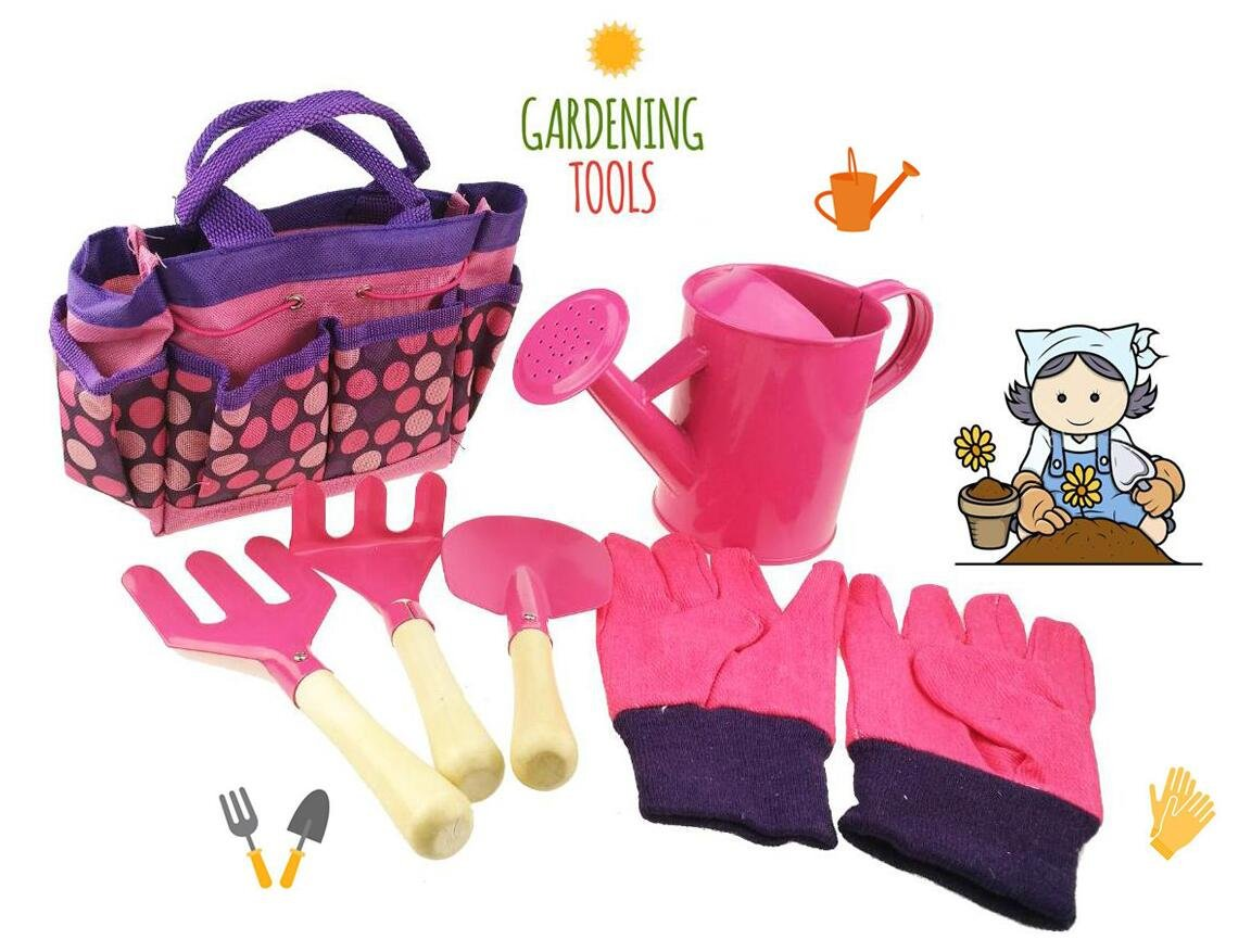 Apol Gardening Tool Set For Kids Children Includes Watering Can Gloves Shovel Rake Fork and Carry bag Girls Boys Gift (Pink)