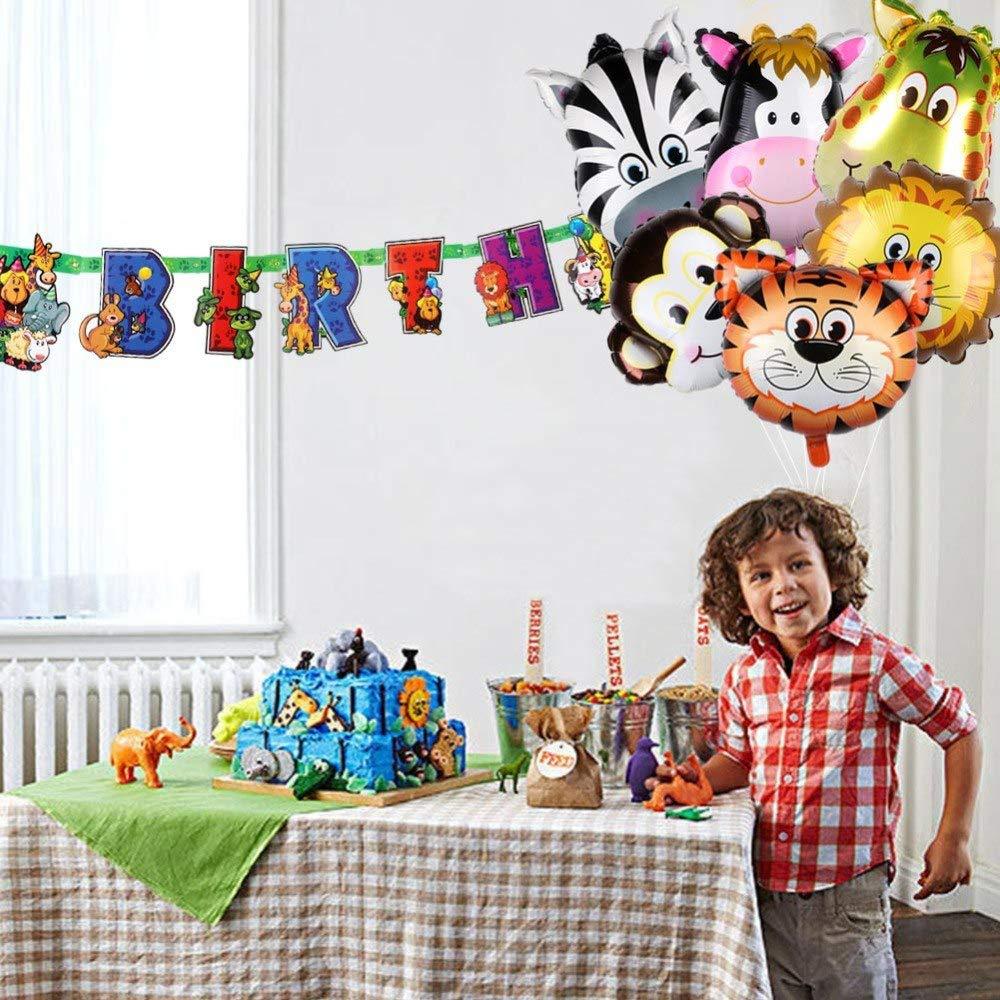 cholinchin 9 unids Foil Globo Animals Helium Set,Globos inflables Jungle Animals para Boy Kids Decoraci/ón de la Fiesta de cumplea/ños,Giant Animal Head Globos Decor Birthday Gift Party