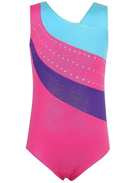 9e90cea03886 Amazon.com : CEMXX Leotards Girls Gymnastics Toddler Kids Ballet Dance  Biketards Purple Pink Stripes Apparel 3-8 Years : Clothing