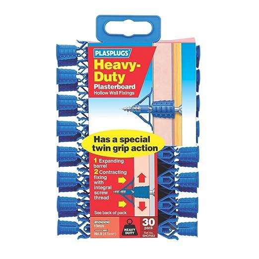 Plasplugs Heavy Duty Plasterboard Fixings 30 Pack