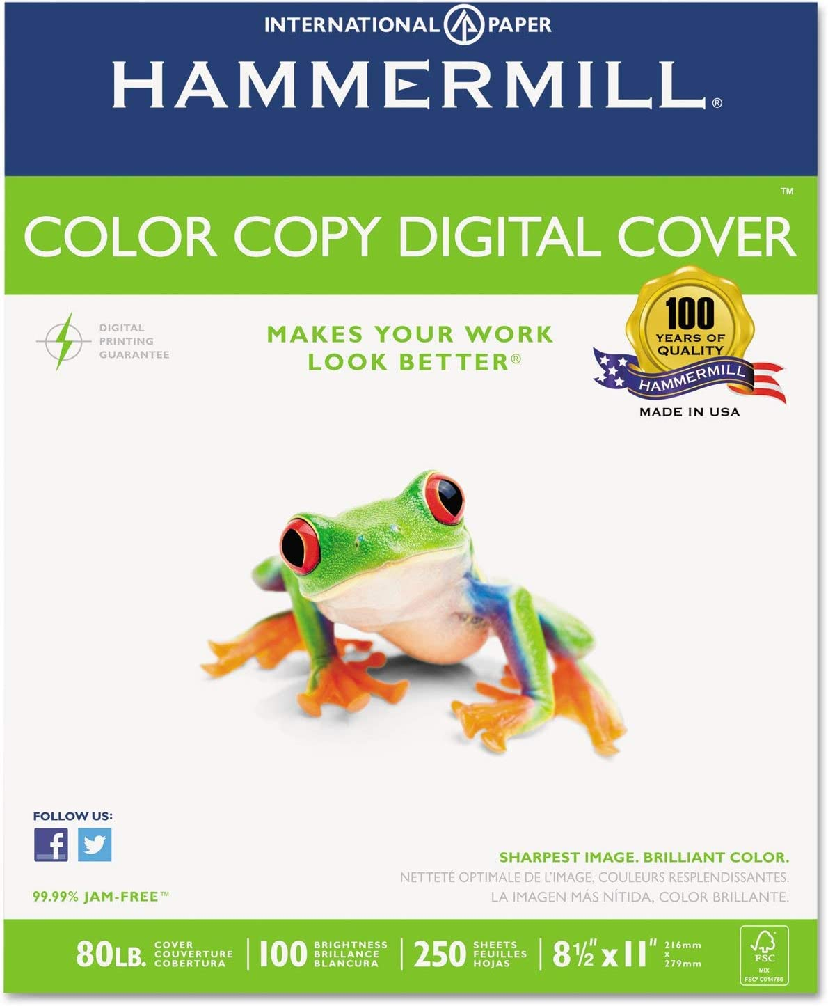 Hammermill 120023 Copier Digital Cover Stock, 80 lbs, 8 1/2 x 11, Photo White, 250 Sheets