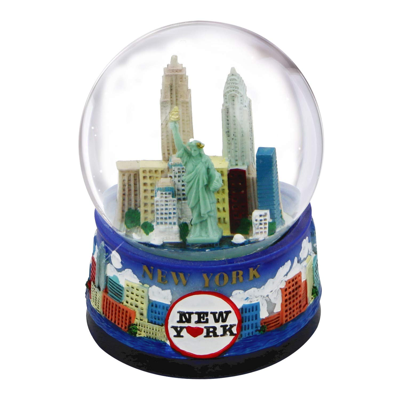 New York Snow Globe -65MM Skyline 614, New York Snow Globes, New York Souvenirs Great Places To You nyskylinesnowdome65-614-mf