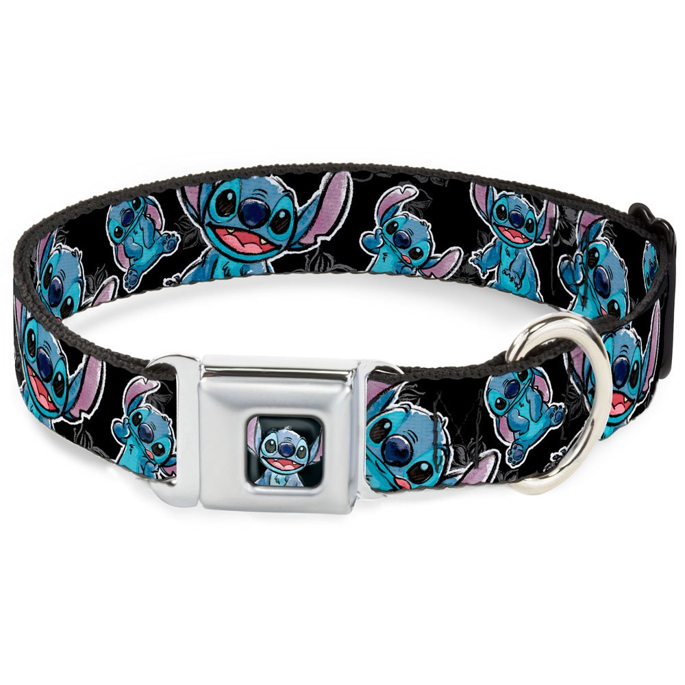Buckle-Down Seatbelt Buckle Dog Collar - Stitch Poses/Hibiscus Sketch Black/Gray/Blue - 1.5'' Wide - Fits 18-32'' Neck - Large