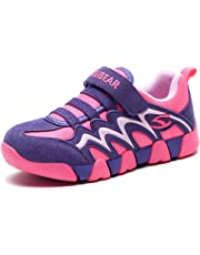 BODATU Boys Girls Sneakers Hook and Loop Kids Sports Running Shoes Comfortable Lightweight