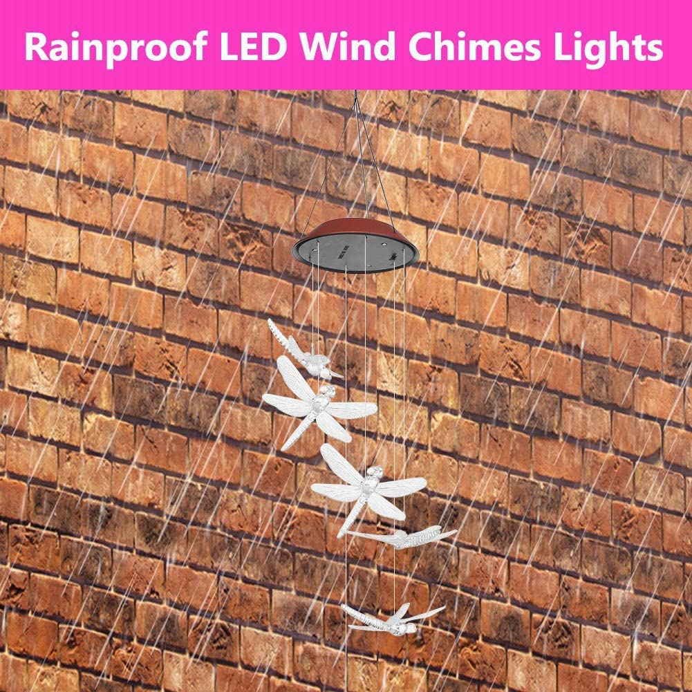 Colored Outdoor Waterproof Solar Panel LED Dragonfly Wind Chimes Home Garden Decor Light Lamp for Home Party Porch Deck Garden Decor LED Solar Wind Chime