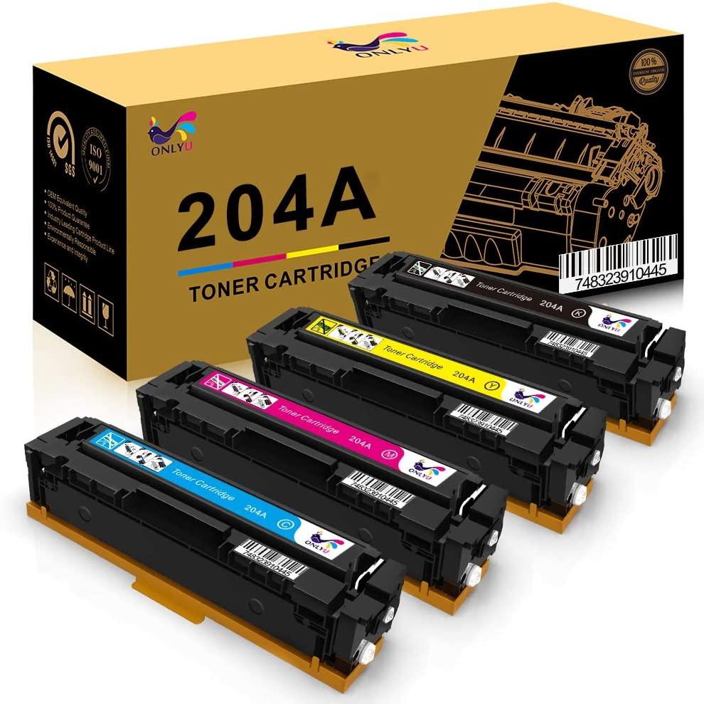 ONLYU Compatible Toner Cartridge Replacement for HP 204 204A CF510A CF511A CF512A CF513A Pro MFP M180n M180nw M181 M181fw M154a M154nw Printer (Black, Cyan, Yellow, Magenta, 4-Pack)