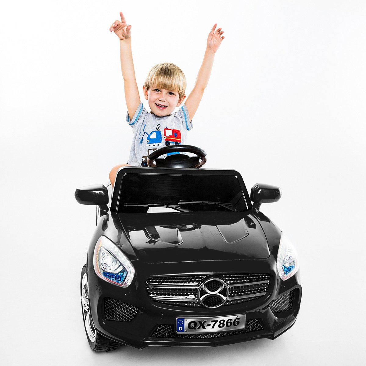 Costway Kids Ride On Car 6V Electric Battery Remote Control Radio Children Toys MP3 - Black