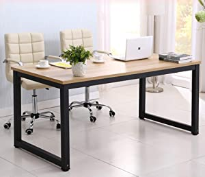 hmercy Home Office Desk, 47-Inch Computer Desk with Modern Simple Design, Simple Writing Study Table, Industrial Style Wood Top and Black Metal Frame for Home Office. (Black)