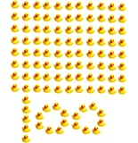 SOHAPY 100Pcs Mini Yellow Rubber Ducks Baby Shower Rubber Ducks, Squeak Fun Baby Yellow Rubber Bath Toy Float Fun…