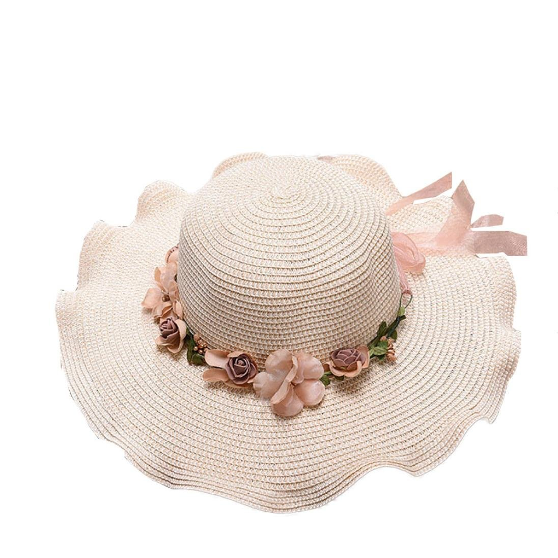 CSSD Clearance Women Vacation Leisure Beach Straw Crimping Hat Visor Garland Decoration Hats (Milk White)