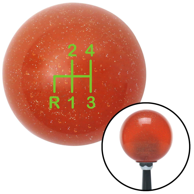 American Shifter 81419 Orange Metal Flake Shift Knob with M16 x 1.5 Insert Green Shift Pattern 2n