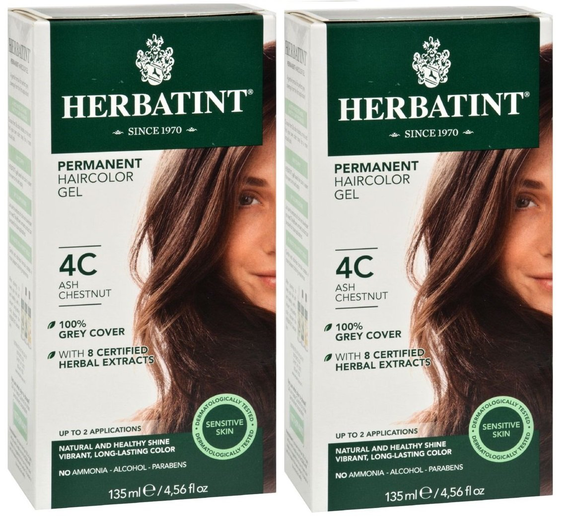Herbatint 4C Ash Chestnut Permanent Haircolor (Pack of 2) Alcohol and Ammonia Free, 4.65fl oz Each by Herbatint