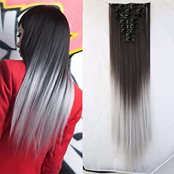 Ombre full head dark brown to silver gray clip in hair extensions ombre full head dark brown to silver gray clip in hair extensions 26 inches66cm pmusecretfo Choice Image