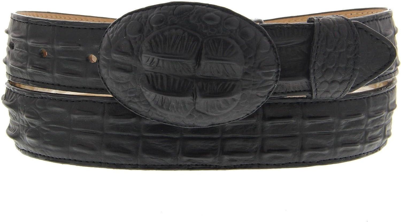 Men Belt Crocodile Alligator Head Cut Design Embossed Leather Cowboy Western Black