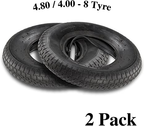 """PACK OF 2-3.50 14/"""" 4.00-8 TYRE AND INNERTUBE FOR WHEELBARROW WHEEL"""