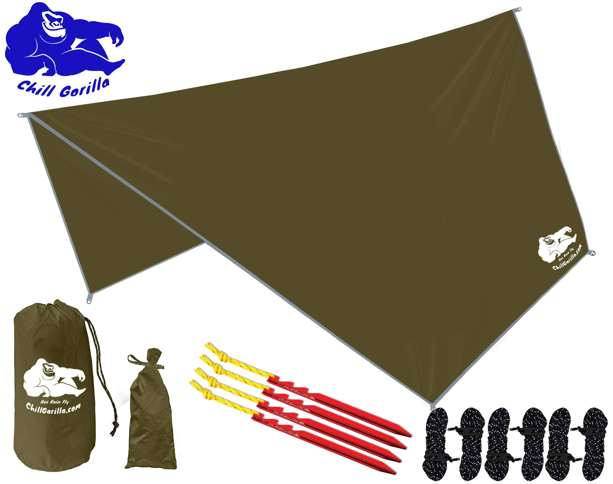 Chill Gorilla HEX Hammock Rain Fly Camping Tarp. Ripstop Nylon. 142'' Centerline. Stakes, Ropes & Tensioners Included. Camping Gear & Accessories. Perfect Hammock Tent. OD Green by Chill Gorilla