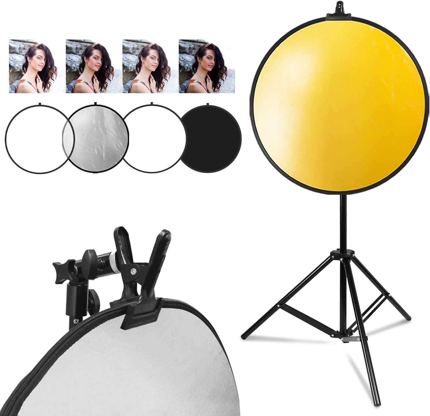 AGG3025 LimoStudio Photo Studio Heavy Duty Metal Clamp Holder with 5//8 Light Stand Attachment for Reflector