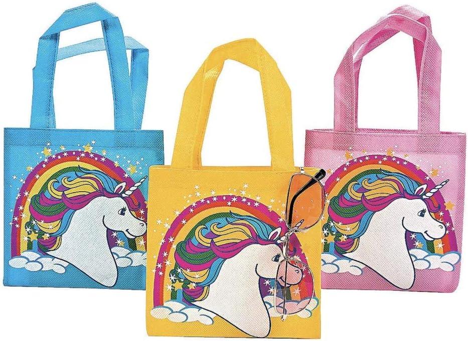 24 with 24 BONUS Stickers -PARTY Favors -Goody Bags Goodie GIRL Parties Mini UNICORN Tote Bags 2 Dozen