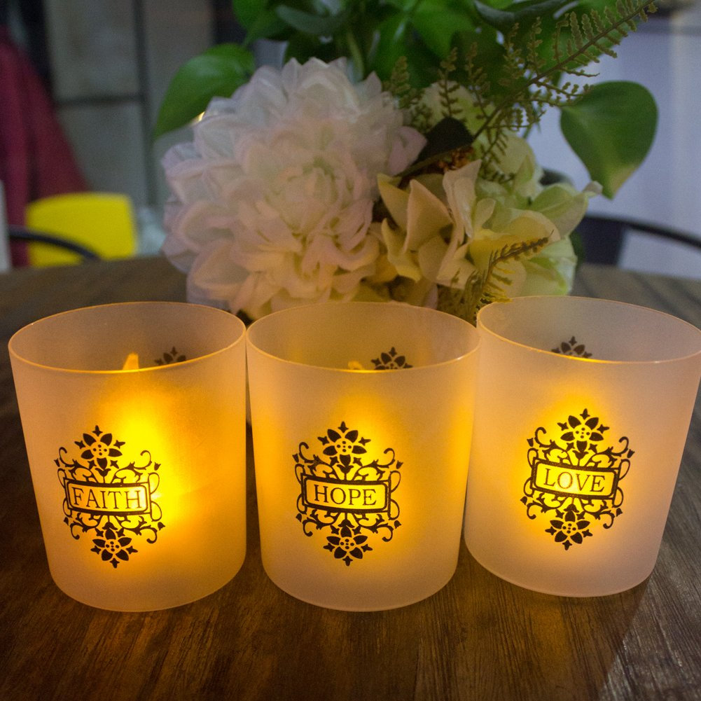 FAITH HOPE LOVE Frosted Plastic Glass Candle Votive Holders - Warm Yellow Flickering Powered By Battery,Wedding Party Chrismas Halloween Dining Table Home Decorations Set of 6 by LOGUIDE
