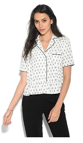 Orfeo Camisa Romie Crudo/Negro Mujer Colección Primavera/Verano