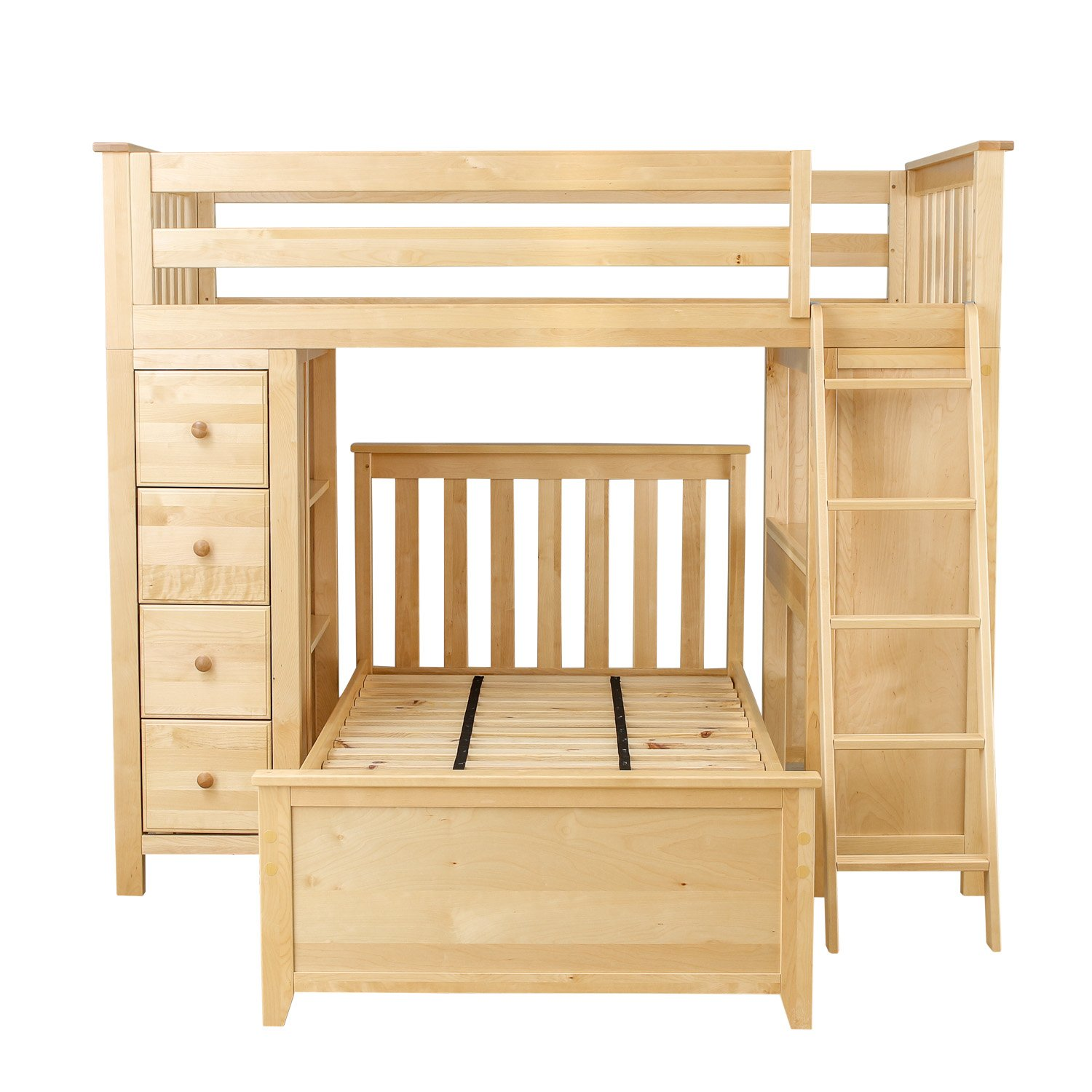 Plank & Beam Combo Loft Bed + Dresser + Desk over Twin Bed, Natural