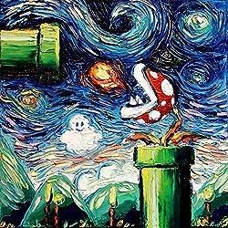Starry Night Piranha Plant PRINT - Video Game Art - Poster print - van Gogh Never Leveled Up - Art by Aja 8x8, 10x10, 12x12, 20x20, 24x24 inches