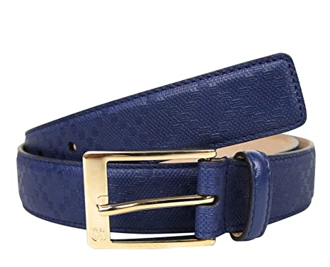 700f62fc6 Gucci Men's Square Navy Blue Leather Belt with Buckle 345658 4232 ...