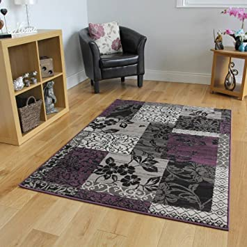 Amazon Com Milan Purple Black Gray Patchwork Area Rug 1568 H33