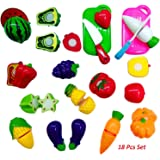 Blossom Realistic Sliceable Fruits and Vegetables Cutting Play Kitchen Set Toy (18 pcs Set) with Various Fruits,Vegetables,Knives and Cutting Boards for Kids,Multi Color.