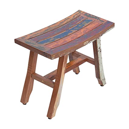 Decoteak 24u0026quot; Satori Recycled Boat Wood Bench  Bench Uses Reclaimed Wood  From Old Fishing