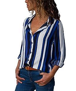 Aranmei Donna Camicetta Chiffon Blusa Elegante Camicia Manica Lunga Scollo V