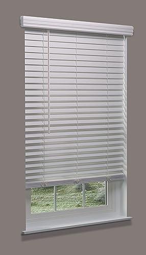 Linen Avenue Cordless Faux Wood Blind White 70 W x 60 H