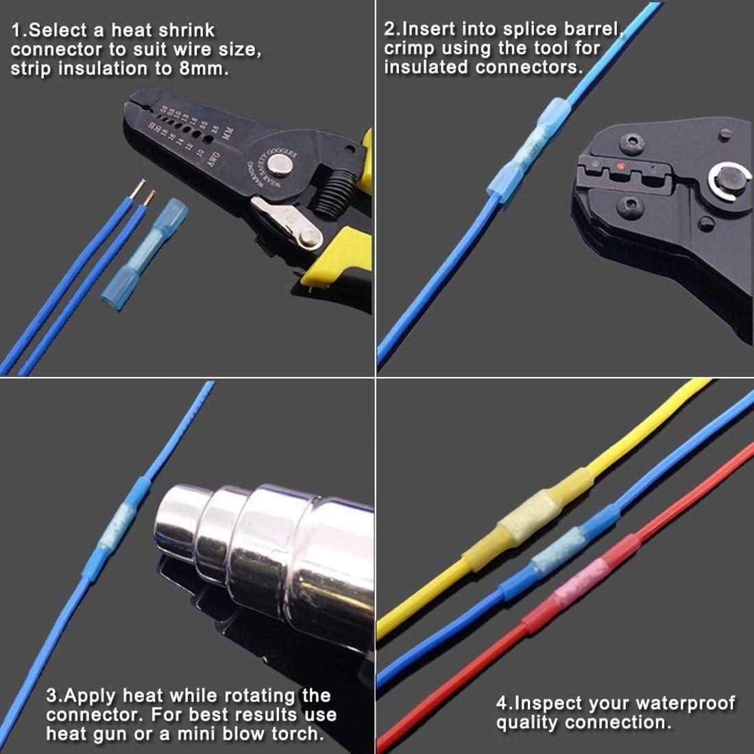 Globalflashdeal 270 PCS Kit de connecteur de fil thermoretractable Anneau de sertissage isole electrique Pelle bout a bout Ensemble de terminaux dautomobiles marins impermeables