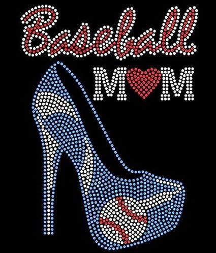 Amazon com: Baseball Mom Heel Stiletto Heart Blue Rhinestone