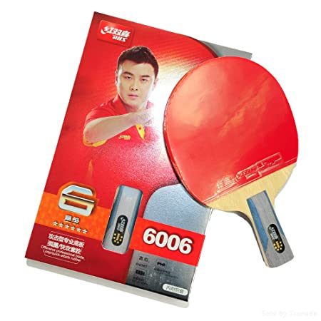 DHS Ping Pong Table Tennis Racket Paddle Bat 6 Star Penhold Shakehand Handle Bat with Carry Case