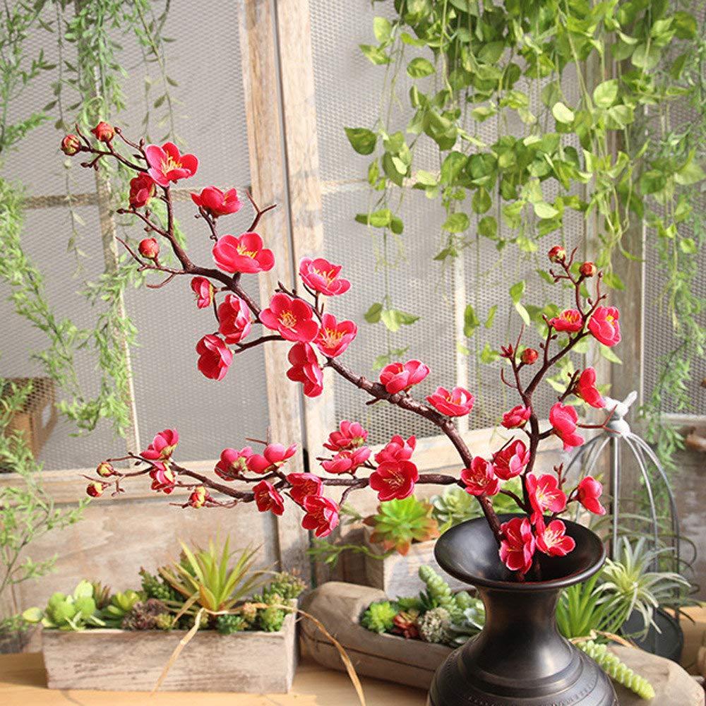 72bcf8564ffb19 Darringls Fleur de prunier pastorale artificielle,1 têtes nuptiale mariage  fleurs bouquets fleurs Décoration de la ...