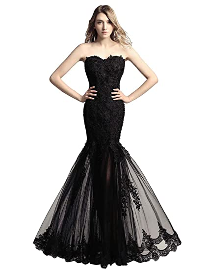 Amazon Belle House Womens Long Tulle Strapless Ball Gown Lace