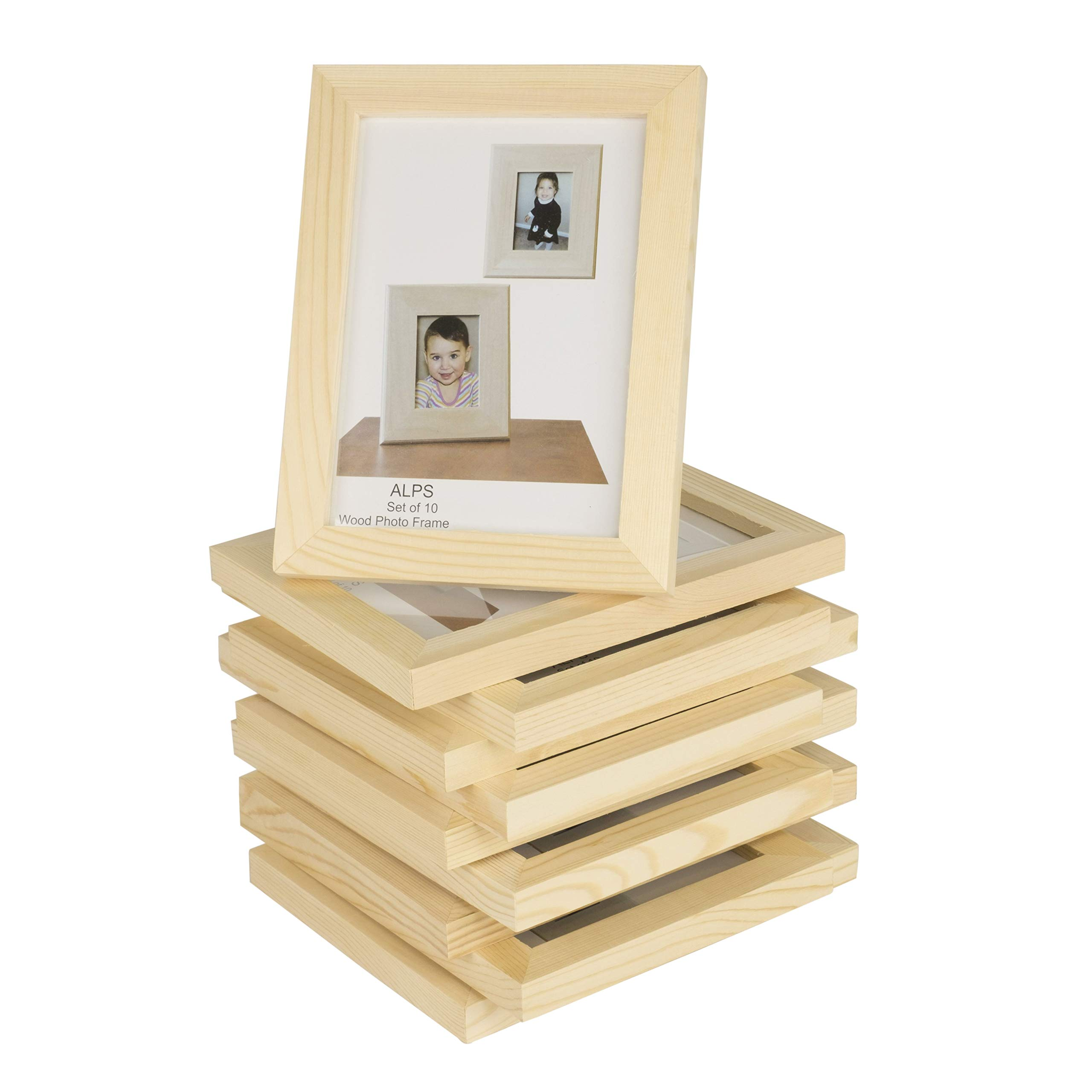 Wallniture Alps DIY Projects Unfinished Solid Crafting Wooden Picture Frames for 4x6 Inch Photos Set of 10 by Wallniture